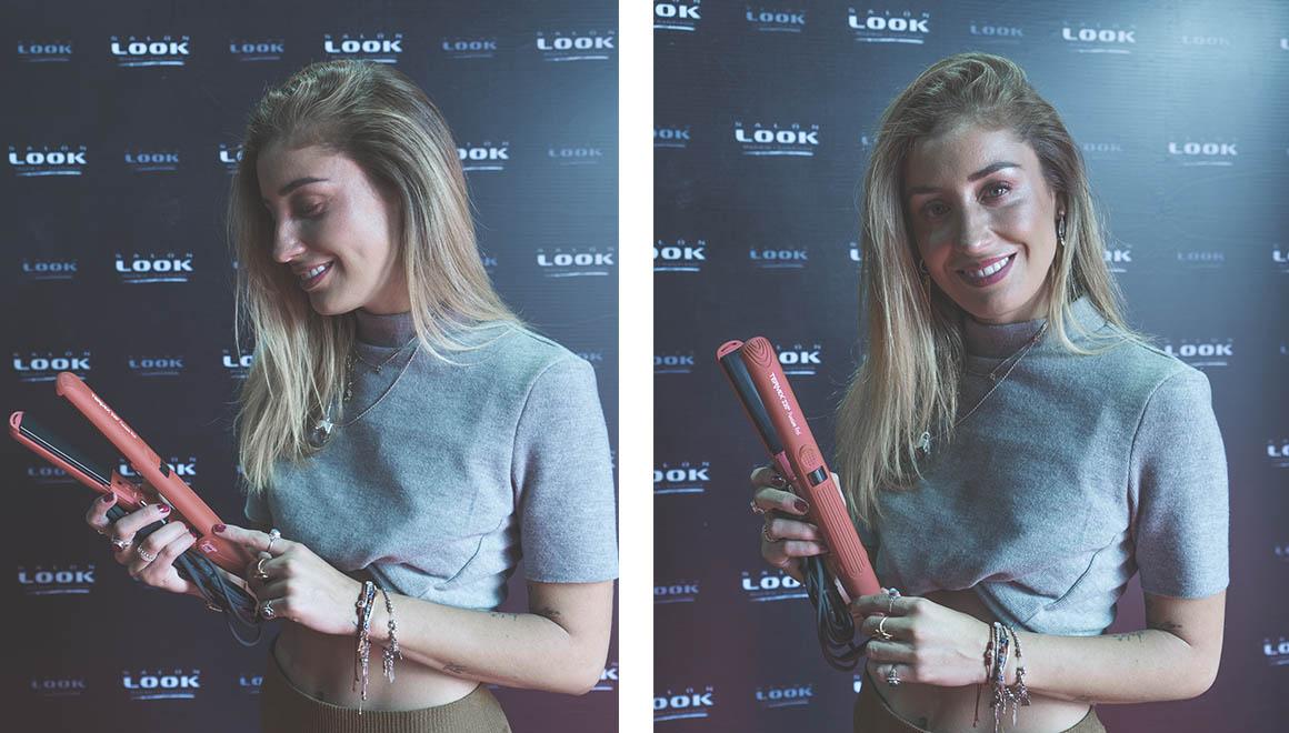 celebrity con la plancha passion red de termix en la feria salon look de chile